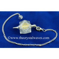 Crystal Quartz Cho ku Rei Engraved Hexagonal Pendulum