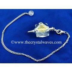 Crystal Quartz AB Grade Cho ku Rei Engraved Hexagonal Pendulum