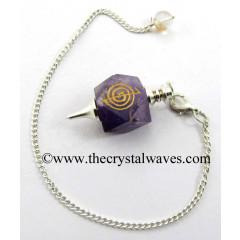 Amethyst Cho ku Rei Engraved Hexagonal Pendulum
