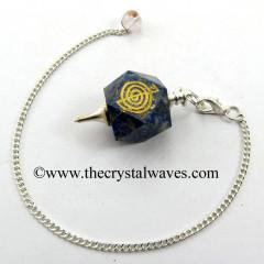 Lapis Lazuli Cho ku Rei Engraved Hexagonal Pendulum