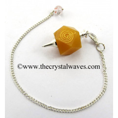Yellow Avneturine Cho ku Rei Engraved Hexagonal Pendulum
