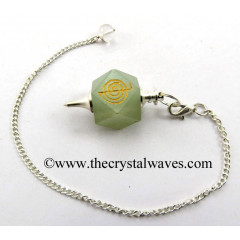Green Aventurine Cho ku Rei Engraved Hexagonal Pendulum