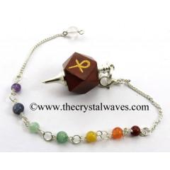 Red Jasper Ankh Engraved Hexagonal Pendulum With Chakra Chain