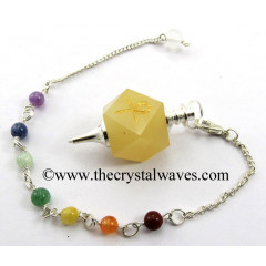 Yellow Aventurine Ankh Engraved Hexagonal Pendulum With Chakra Chain