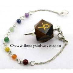 Tiger Eye Agate Ankh Engraved Hexagonal Pendulum With Chakra Chain