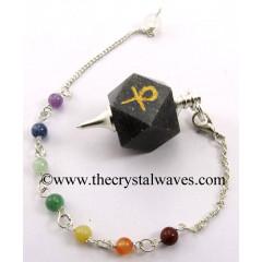 Blue Aventurine Ankh Engraved Hexagonal Pendulum With Chakra Chain