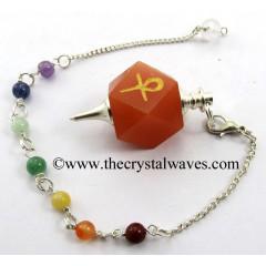 Red Aventurine Ankh Engraved Hexagonal Pendulum With Chakra Chain