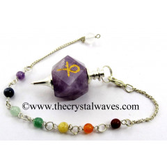 Amethyst Ankh Engraved Hexagonal Pendulum With Chakra Chain