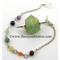 Green Aventurine Ankh Engraved Hexagonal Pendulum With Chakra Chain