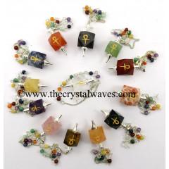Mix Gemstones Ankh Engraved Hexagonal Pendulum With Chakra Chain