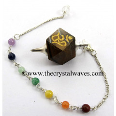 Tiger Eye Agate Om Engraved Hexagonal Pendulum With Chakra Chain