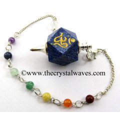 Lapis Lazuli Om Engraved Hexagonal Pendulum With Chakra Chain