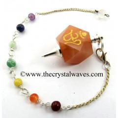 Peach Moonstone Om Engraved Hexagonal Pendulum With Chakra Chain