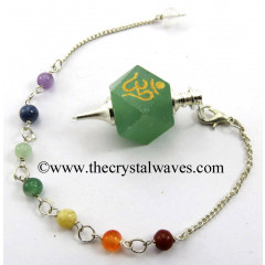 Green Aventurine Om Engraved Hexagonal Pendulum With Chakra Chain