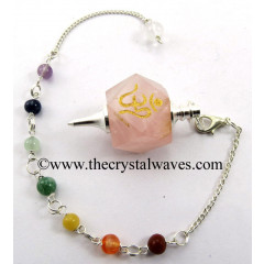 Rose Quartz Om Engraved Hexagonal Pendulum With Chakra Chain