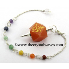 Red Aventurine Om Engraved Hexagonal Pendulum With Chakra Chain