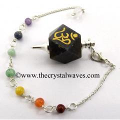 Blue Aventurine Om Engraved Hexagonal Pendulum With Chakra Chain