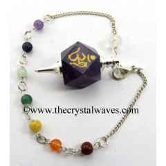 Amethyst Om Engraved Hexagonal Pendulum With Chakra Chain