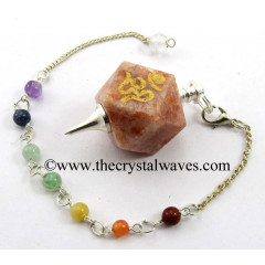 Sunstone Om Engraved Hexagonal Pendulum With Chakra Chain