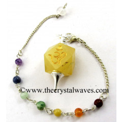 Yellow Aventurine Om Engraved Hexagonal Pendulum With Chakra Chain