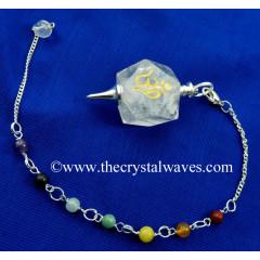 Crystal Quartz Om Engraved Hexagonal Pendulum With Chakra Chain