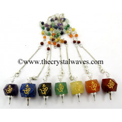Om Engraved Hexagonal Pendulum Chakra Set  With Chakra Chain