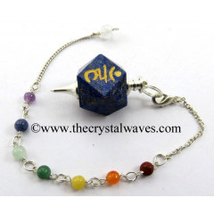 Lapis Lazuli Ham Engraved Hexagonal Pendulum With Chakra Chain