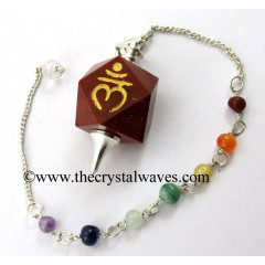 Red Jasper Lam Engraved Hexagonal Pendulum With Chakra Chain
