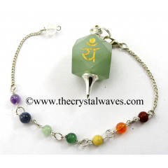 Green Aventurine Yam Engraved Hexagonal Pendulum With Chakra Chain