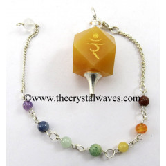 Yellow Aventurine Ram Engraved Hexagonal Pendulum With Chakra Chain