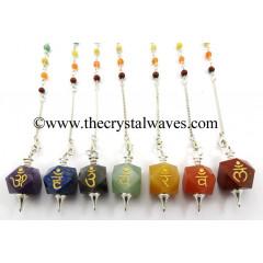 Chakra Letters Engraved Hexagonal Pendulum Chakra Set With Chakra Chain