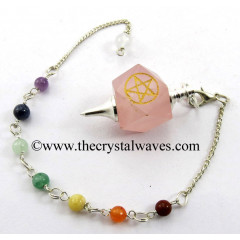 Rose Quartz Pentacle Engraved Hexagonal Pendulum With Chakra Chain