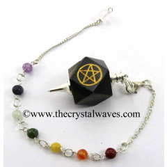 Blue / Black Tiger Eye Agate Pentacle Engraved Hexagonal Pendulum With Chakra Chain