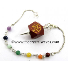 Red Jasper Pentacle Engraved Hexagonal Pendulum With Chakra Chain