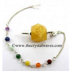 Yellow Aventurine Pentacle Engraved Hexagonal Pendulum With Chakra Chain