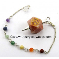 Sunstone Pentacle Engraved Hexagonal Pendulum With Chakra Chain