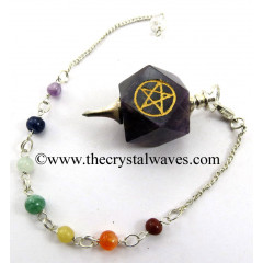 Amethyst Pentacle Engraved Hexagonal Pendulum With Chakra Chain