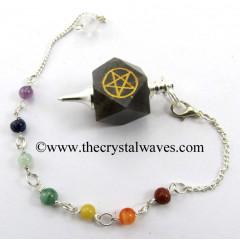Blue Aventurine Pentacle Engraved Hexagonal Pendulum With Chakra Chain