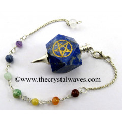 Lapis Lazuli Pentacle Engraved Hexagonal Pendulum With Chakra Chain