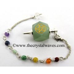 Green Aventurine Pentacle Engraved Hexagonal Pendulum With Chakra Chain