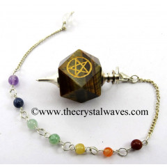 Tiger Eye Agate Pentacle Engraved Hexagonal Pendulum With Chakra Chain