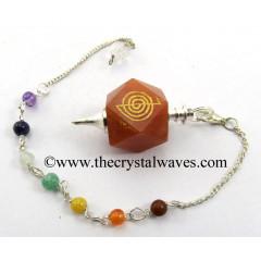 Red Aventurine Cho Ku Rei Engraved Hexagonal Pendulum With Chakra Chain
