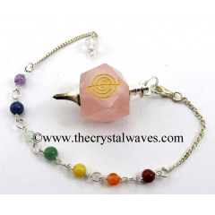 Rose Quartz Cho Ku Rei Engraved Hexagonal Pendulum With Chakra Chain