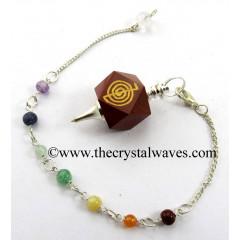 Red Jasper Cho Ku Rei Engraved Hexagonal Pendulum With Chakra Chain
