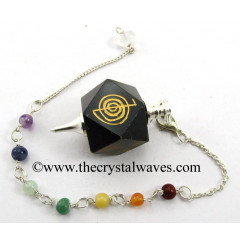 Blue / Black Tiger Eye Agate Cho Ku Rei Engraved Hexagonal Pendulum With Chakra Chain