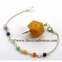 Yellow Aventurine Cho Ku Rei Engraved Hexagonal Pendulum With Chakra Chain
