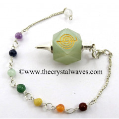 Green Aventurine Cho Ku Rei Engraved Hexagonal Pendulum With Chakra Chain