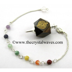 Tiger Eye Agate Cho Ku Rei Engraved Hexagonal Pendulum With Chakra Chain