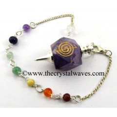 Amethyst Cho Ku Rei Engraved Hexagonal Pendulum With Chakra Chain