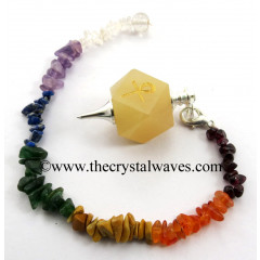 Yellow Aventurine Ankh Engraved Hexagonal Pendulum With Chakra Chips Chain